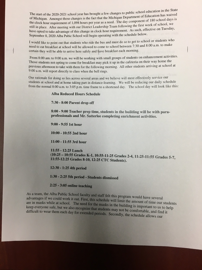 New Alba Schedule Effective 9-8-2020